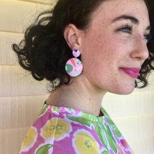 Rock The Brocc ladies dangle earrings in pink lifestyle shot